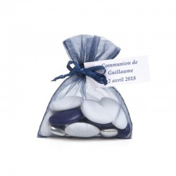 Sac de 10 Sachets organdi bleu marine