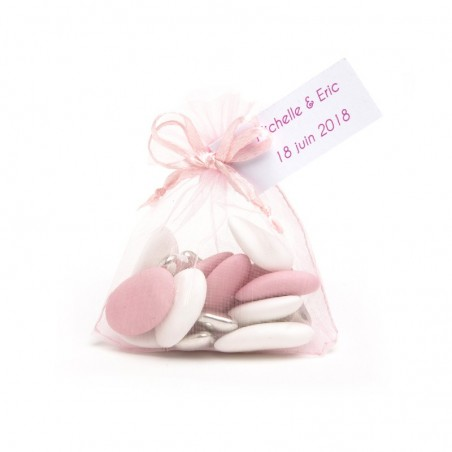 Sac de 10 Sachets organdi rose