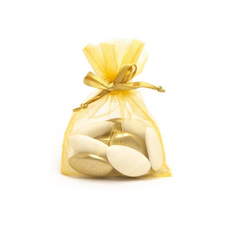 Sac de 10 Sachets organdi jaune