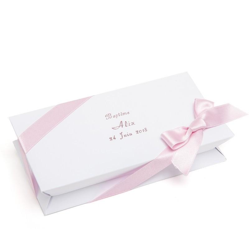 Boîte blanche à dragées rectangle 100g