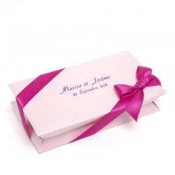 Boîte rose à dragées rectangle 100g personalisable