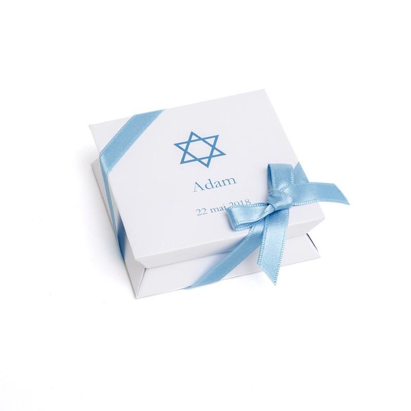 """Mini-boîte blanche à dragées 40g """"étoile de David"""""""