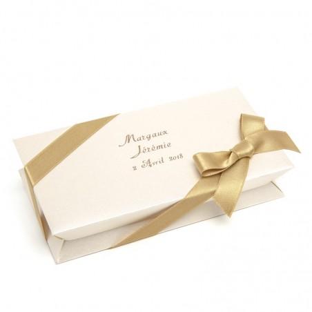 Boîte blanche à dragées rectangle 100g personnalisable Girard