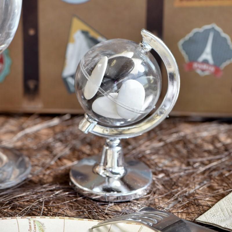 Lot de 6 globes terrestres plexi transparent pour dragées