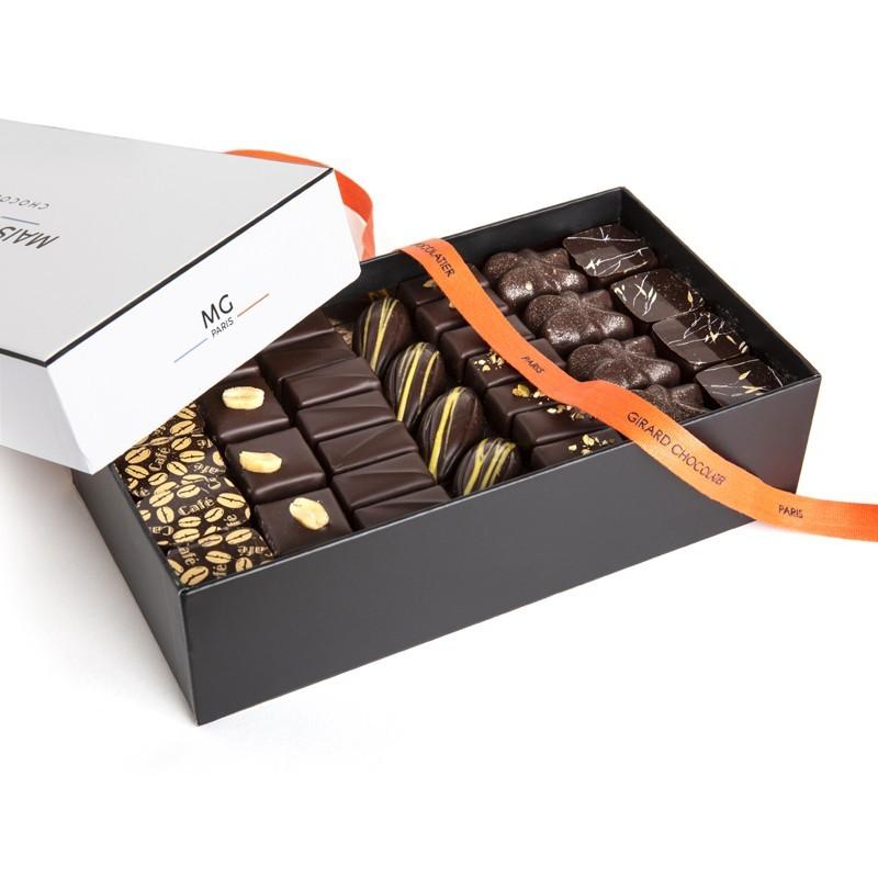 Ballotin 700g, 65 chocolats noirs, 3 étages
