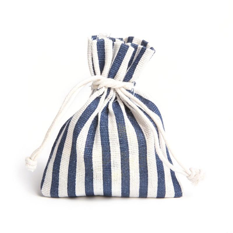Lot de 4 sacs en lin rayés bleu et blanc 30g