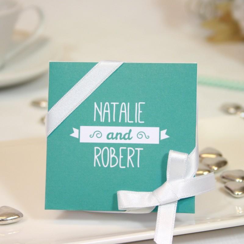 "Mini-boîte blanche 40g ""turquoise"""