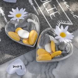 Lot de 5 coeurs en plexi transparent pour dragées
