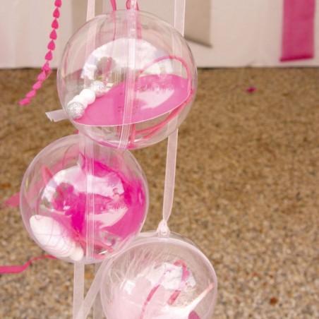 Lot de 5 boules plastiques 10 cm pour dragées