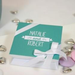 """Mini-boîte blanche à dragées 40g """"turquoise"""""""