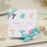 "Mini-boîte blanche à dragées 40g ""origami"""